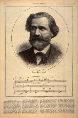Portrait of Giuseppe Verdi, from Harper's Weekly, (19 April 1873), p. 332