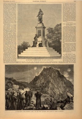 The Monument to Roger Williams -and- In the Shipka Pass, from Harper's Weekly, (10 November 1877), p. 889
