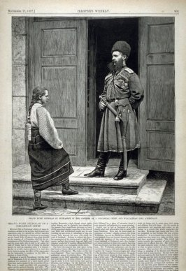 Grand Duke Nicholas at Bucharest in the Costume of a Circassian Chief, and Wallachian Girl Attendant - from  Harper's Weekly, (November 17, 1877), p. 901