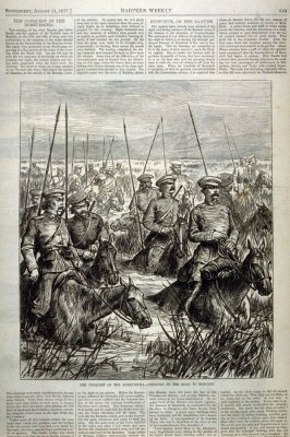 The Conquest of the Dobrudscha - Cossacks on the Road to Matchin - from Harper's Weekly, Supplement, (August 11, 1877), p. 633