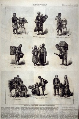 Sketches in Turkey - Street Characters of Constantinople - p.454 Harper's Weekly, Supplement 9 June 1877