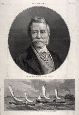 p.293 from The Graphic 21 October1871 with two illustrations: Portrait of the late Field Marshal Sir John Burgoyne -and- Miniature Yacht (Sailing Canoe) Race in the Solent