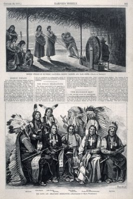Mission Indians of Southern California Making Baskets-and- The Sioux and Arrapahoe Delegations - from Harper's Weekly, (20 October 1877), p.821