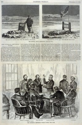 The Grave of Captain Hall with the Original Head-board, the Grave of Captain Hall with the new Head-Board,and- The Louisiana Returning Board - Taking the Oath, from Harper's Weekly, (9 December 1876, p. 988)