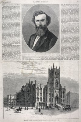 Professor Thomas. Hunter, President of the Normal College -and- The New York Normal College, from Harper's Weekly, (25 July 1874), p. 617