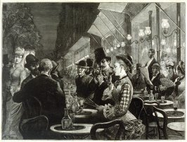 Life on the Paris Boulevard - Open-Air Guests Before a Café - from Harper's Weekly (20 October 1877), p. 829