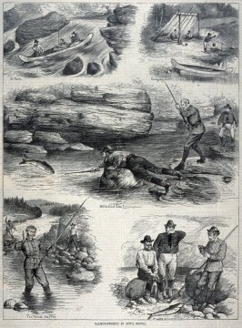 Salmon Fishing in Nova Scotia, from Harper's Weekly, (8 December 1877), p. 973