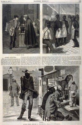 Random Street Sketches in Philadelphia (A Peanut Seller, Discussing the Political Situation, Hungry) from Harper's Weekly, (31 March 1877), p. 253