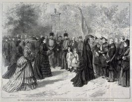 The Fete Napoleon at Chiselhurst - Reception of the Visitors by the ex-Empress Eugénie in the Garden of Camden Place - from Harper's Weekly (20 September 1873), p, 829