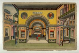 [Interior of a large house with courtyards, three men in the foreground]
