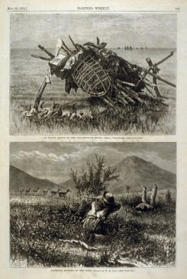 An Indian Grave on the Yellowstone River -and- Antelope Hunting in the West - from Harper's Weekly (May 23,1874), p. 433