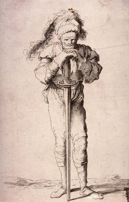 Soldier Holding a Long Sword with Both Hands, copy in reverse after the etching by Salvator Rosa from the series Figurine