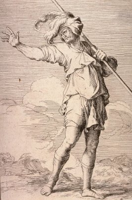 Soldier Carrying a Cane, copy in reverse after the etching by Salvator Rosa from the series Figurine