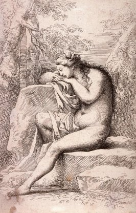Nude in Contemplation, Seated on a Rocky Ledge, copy in reverse after the etching by Salvator Rosa from the series Figurine