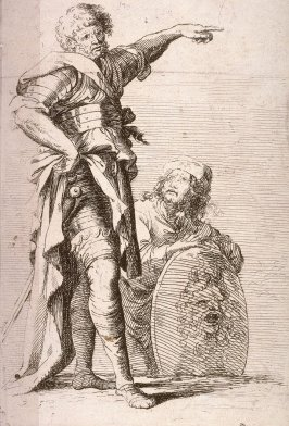 Two Soldiers (one pointing, the other holding a shield), copy in reverse after the etching by Salvator Rosa from the series Figurine