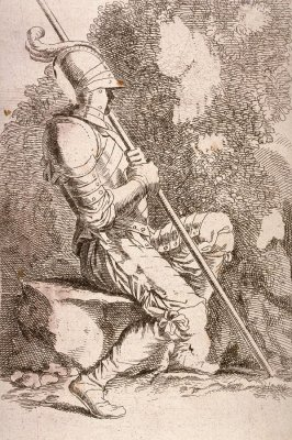 Soldier, Seated, in a Helmet, Holding a Cane, copy after the etching by Salvator Rosa from the series Figurine