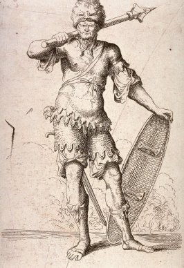 Soldier Shouldering a Pike and Holding a Shield, copy in reverse after the etching by Salvator Rosa from the series Figurine