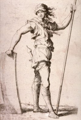 Soldier Holding a Cane and his Shield, copy in reverse after the etching by Salvator Rosa from the series Figurine