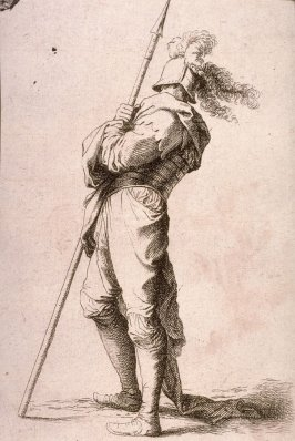 Soldier Holding his Lance with Both Hands, copy in reverse after the etching by Salvator Rosa from the series Figurine