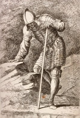 Soldier in Helmet and Armor Regarding a Stream, copy in reverse after the etching by Salvator Rosa from the series Figurine