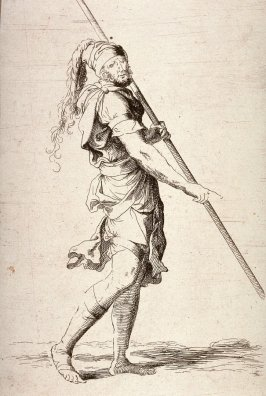 Soldier Holding a Cane with Both Hands, copy in reverse after the etching by Salvator Rosa from the series Figurine