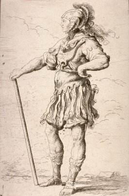 Soldier with Cane, copy in reverse after the etching by Salvator Rosa from the series Figurine