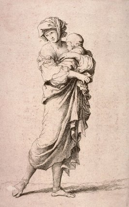 Young Mother Carrying an Infant, copy in reverse after the etching by Salvator Rosa from the series Figurine