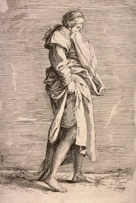 Young Woman Walking, copy in reverse after the etching by Salvator Rosa from the series Figurine