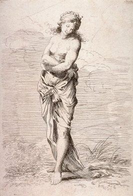 Semi-Nude Woman, copy in reverse after the etching by Salvator Rosa from the series Figurine