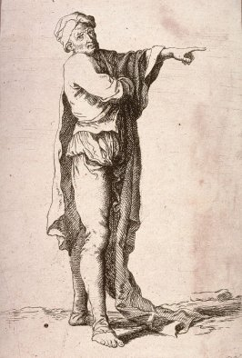 Man, Standing, His Arm Pointing Horizontally, copy in reverse after the etching by Salvator Rosa from the series Figurine