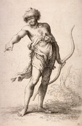 Man with a Bow, copy in reverse after the etching by Salvator Rosa from the series Figurine