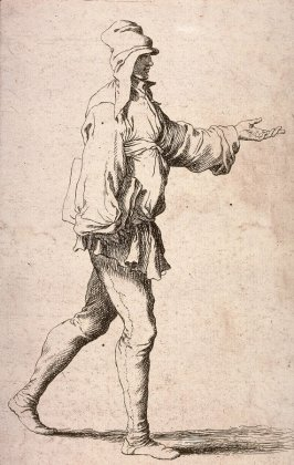 Man Striding with Arm Outstretched, copy in reverse after the etching by Salvator Rosa from the series Figurine