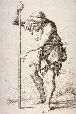 Peasant with Staff, copy in reverse after the etching by Salvator Rosa from the series Figurine