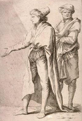Man Striding, Followed by a Retainer, copy in reverse after the etching by Salvator Rosa from the series Figurine