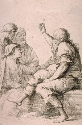 Four Men in Conversation, copy in reverse after the etching by Salvator Rosa from the series Figurine