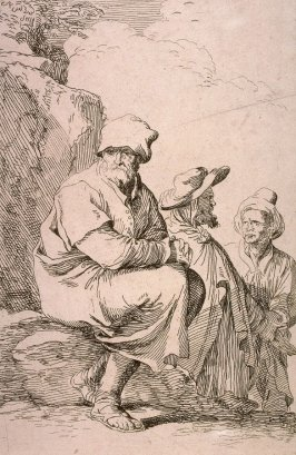 Seated Peasant with Two Other Men, copy in reverse after the etching by Salvator Rosa from the series Figurine