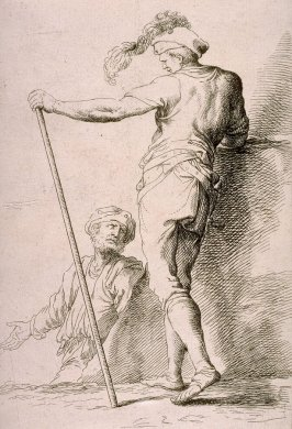 Two Soldiers, copy in reverse after the etching by Salvator Rosa from the series Figurine