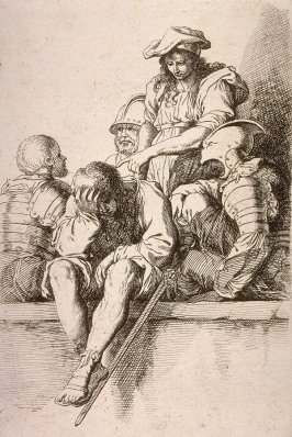 Five Soldiers, copy in reverse after the etching by Salvator Rosa from the series Figurine