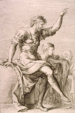 Two Soldiers, One with his Hand Raised, copy in reverse after the etching by Salvator Rosa from the series Figurine