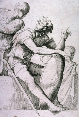 Seated Soldier with Shield, copy in reverse after the etching by Salvator Rosa from the series Figurine