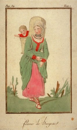 Woman of Burgose with a child on her back