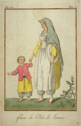 Woman of the isle of Lemnos with her small boy child