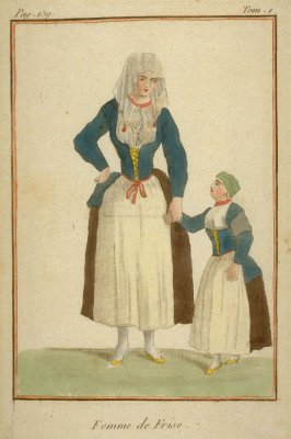 Woman of Friesland and her little daughter