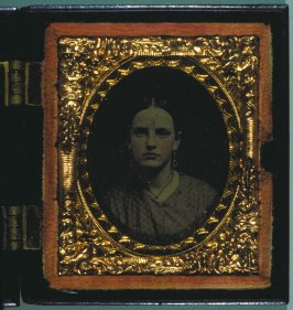 Portrait of a woman in a Union case with Indian chief's head