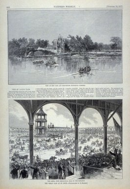 """View of the Lake and Bear-House, Zoological Gardens"" and ""The Arena and Mechanical Hall in the Distance, Great Fair at St. Louis"" from Harper's Weekly, (October 13, 1877), p. 800"