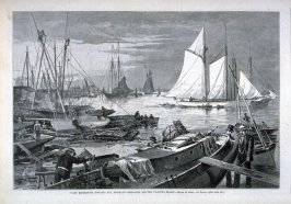 """Yacht Rendezvous, Gowanis Bay, Brooklyn - Preparing for the Yachting Season"""" - from Harper's Weekly, (July 9, 1877), p. 440"""