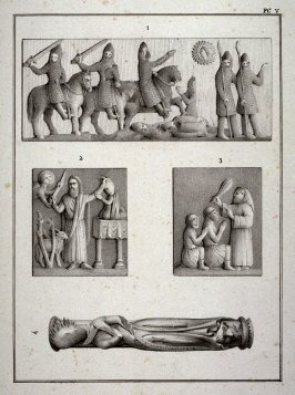 none; chain-mail clad knights, Abraham & Isaac, other figures