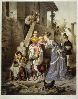 none: aristocratic lady visits home of peasants, France late 19th century?