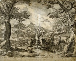 In Sudore Vultus Tui Vescitor...(Adam and Eve after Banishment from Eden), Genesis 3:19, from a group of Biblical illustrations printed by C. J. or Nicolaes Visscher