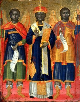 St. John Chrysostom Between Archangels Michael and Gabriel